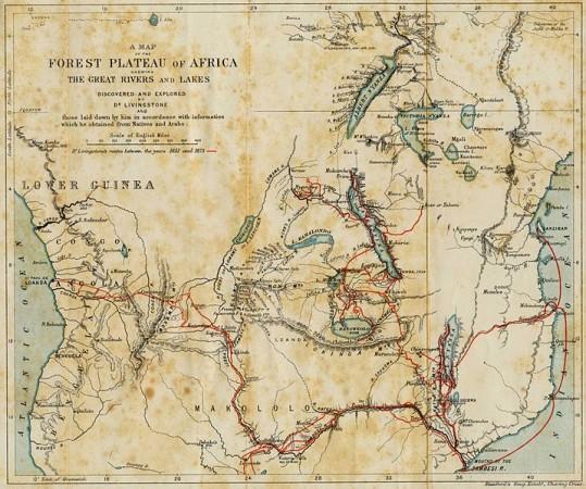Mappa dei viaggi in Africa di Livingstone