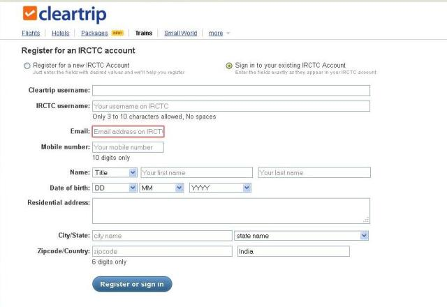 Cleartrip-registration-form