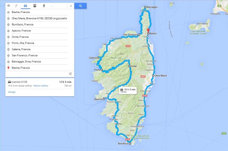 la corsica in moto itinerario