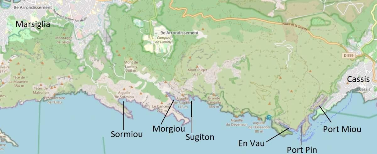 mappa calanques