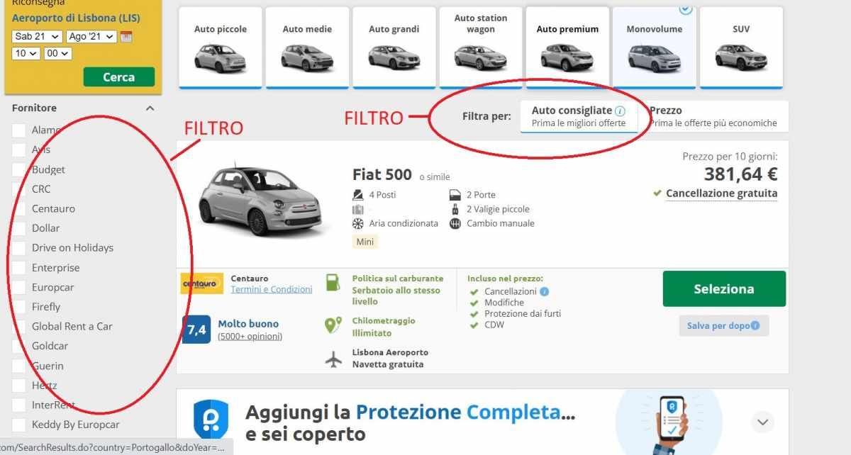 noleggiare auto Portogallo low cost