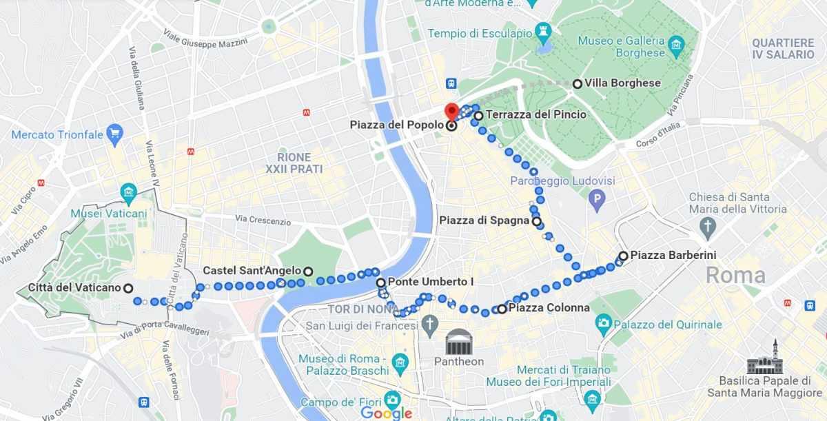 Mappa itinerario Roma secondo giorno