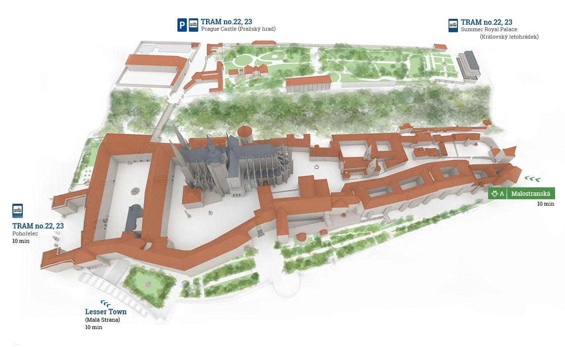 Mappa del Castello di Praga