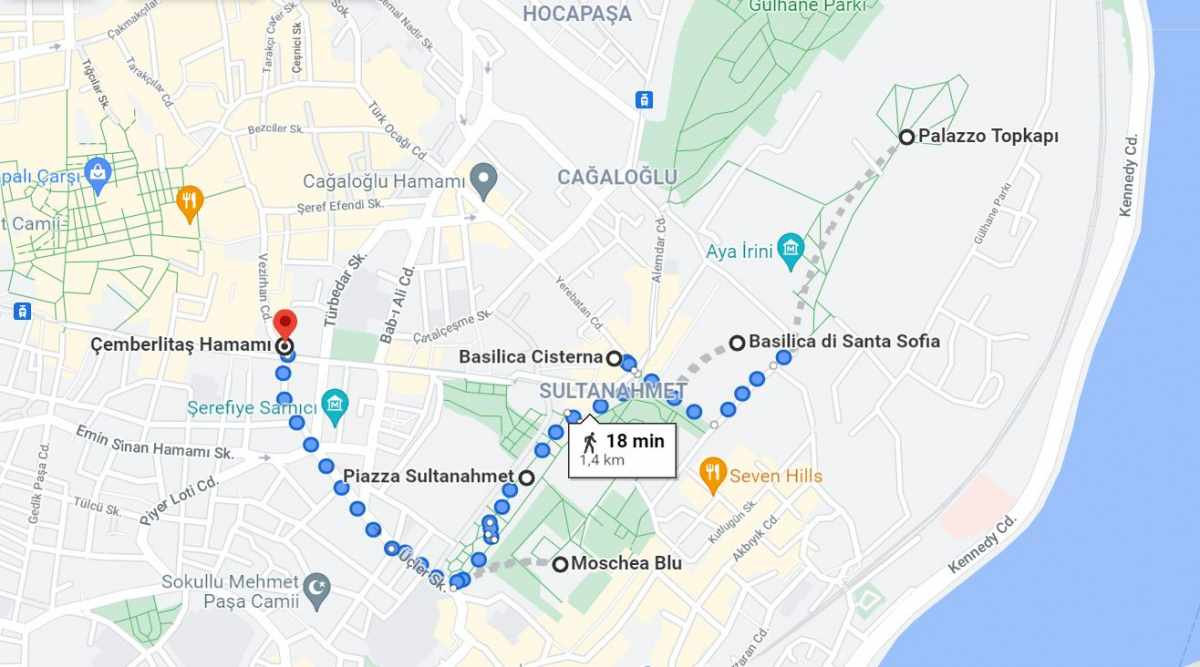 Mappa cosa vedere Istanbul giorno 1