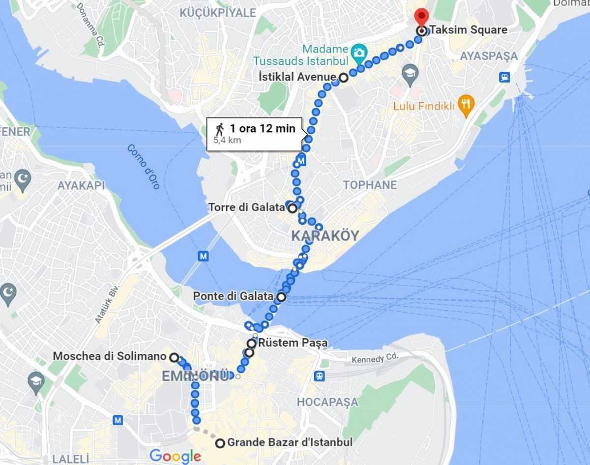 mappa itinerario Istanbul giorno 2